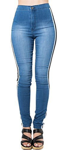 Didala Femmes Fille Haute taille BF Style Casual Bandage Paneled Stretchy Bodycon Skinny Denim Pants Pantalons Jeans Bleu