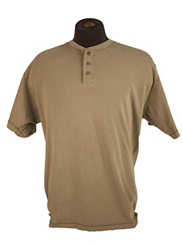(Canyon Guide Outfitters Men's Short Sleeve Three Button Henley Assorted Colors (Large, Tan))