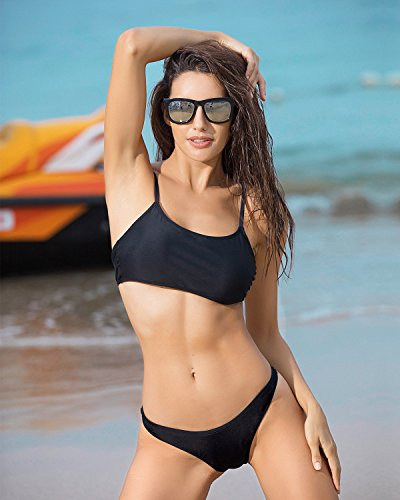 Funnygirl Womens Sexy Solid Bikini Set Swimwear Brazilian Padded Top High Cut Triangle Bottom 2 Pieces Swimsuit Black Small by Funnygirl (Image #4)