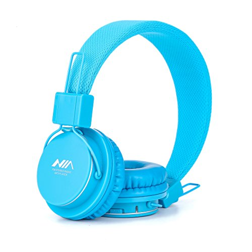 GranVela A802 Wired Over-Ear Headphones, Lightweight Foldable 3 in 1 Stereo Headset with Mic, MicroSD Card Player and FM Radio(Sky Blue)