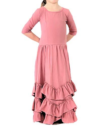 Ruffle Dress Prairie - Jennifer + June Ruffle Prairie Maxi Dress for Toddler Girls. (3T -4T, Dust Pink)