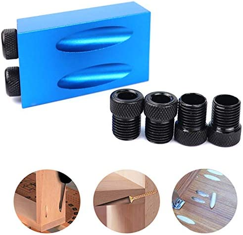 Summerwindy Woodworking Pocket Hole Jig Kit 6//8//10Mm Angle Drill Guide Set Hole Puncher Locator Jig Drill Bit Set for DIY Carpentry Tools(B)