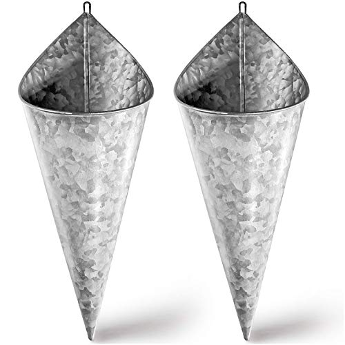 Galvanized Wall Planter - Two(2) Cone Metal Hanging Vase Container. Farmhouse Rustic Decor. Tin Style Tall Bucket or Pocket for Plants or Flowers by Hallops