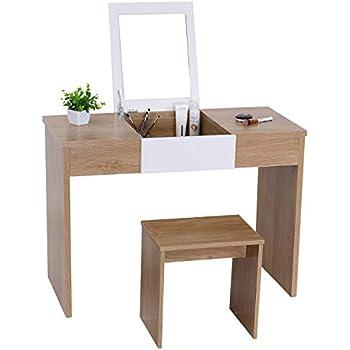 Amazon Com Vanity Table With Flip Top Mirror Makeup