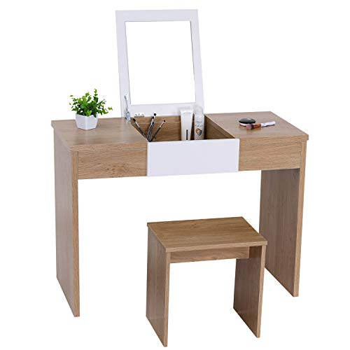 Vanity Table with Flip Top Mirror Makeup Dressing Table Writing Desk with Makeup Stool Set Easy Assembly (Oak)