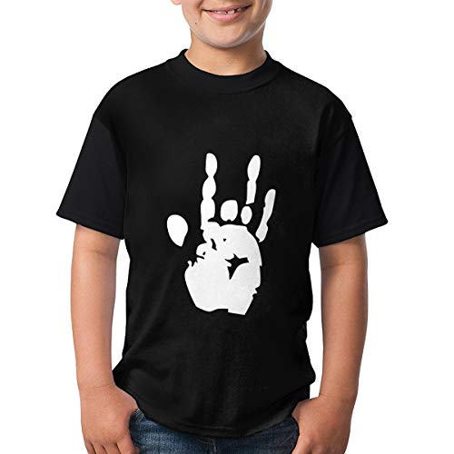 (Youth Round Neck T-Shirts, Grateful Dead Jerry Hand Short Sleeve T-Shirt Sport Casual Classic Jersey for Teens Black )