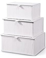 Honygebia White Bamboo Decorative Storage Boxes - Rectangle Lined Basket with lids Organizer for Shelf (Set of 3)
