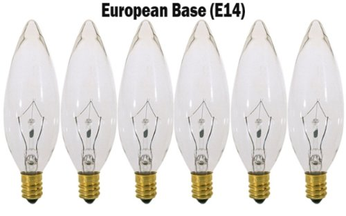 (Pack of 6) 40 Watt Clear European Base (E14) Torpedo Tip 120V Chandelier Bulbs