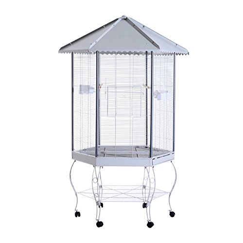 Shiny Roof (Metal Stand Parrot Aviary Bird Cage 44
