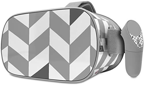 Decal Style Skin Wrap Compatible with Oculus Go Headset - Chevrons Gray and Charcoal (Oculus NOT Included)