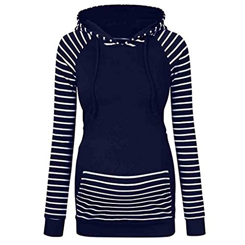 Women's Maternity Hoodie Nursing Sweatshirt Pregnancy Stripe Long Sleeve with Pockets Mama Clothes (L, Navy)