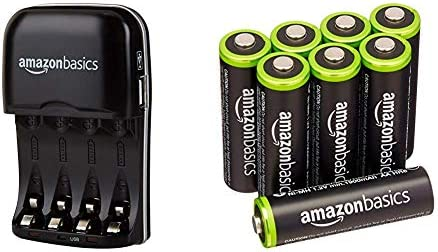 Amazon Basics Ni-MH AA & AAA Battery Charger With USB Port & AA Pre-Charged Rechargeable Batteries 2000 mAh / minimum: 1900 mAh [Pack of 8] – Outer Jacket May Vary