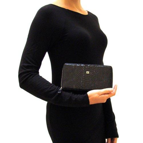 GUIDI Italian Made Black Patent Snakeskin Embossed Leather Zip Around - Wallet Snakeskin Embossed
