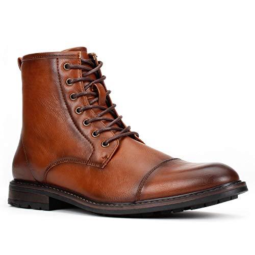 (Jazamé Men's Carson Distressed Cap Toe Tall Motorcycle Miltiary Combat Boots, Cognac, 7.5)