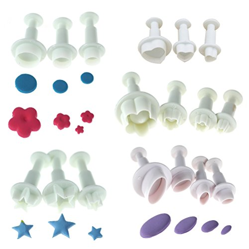 (17 PCS Fondant Cake Cookie Cutters Plunger Cutter Tools Cake Decorating Tools, White)