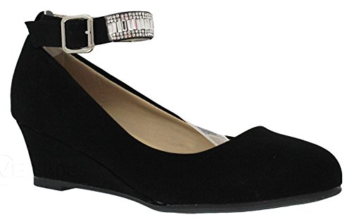 MVE Shoes Party Wedge-Close Toe Rhinestone Ankle Strap-Shimmer Pumps-Shoes, Black Size 10