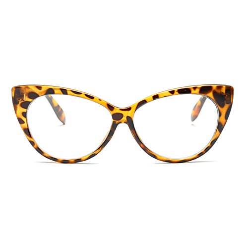 Armear Non Prescription Cat Eye Glasses Leopard Print Eyewear Frame For Women (Leopard clear, 66)