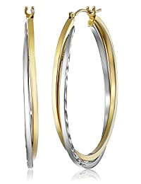 Bonded Sterling Silver and 14k Gold Hoop Earrings