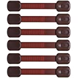 Baby Proofing Child Safety Locks | Best Way To Baby Proof Your Home | Adhesive Safety Latches - For Cabinets, Drawers, Fridge Door - Trash Can, Toilet - With Free Extra 3M Adhesives( 6 Pack, Brown)