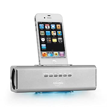 afa308fba41 Inovalley AD-BK Altavoz base dock universal para iPhone/iPod (USB, microSD,  MP3, Radio FM, batería iones de litio) Blanco: Amazon.es: Electrónica