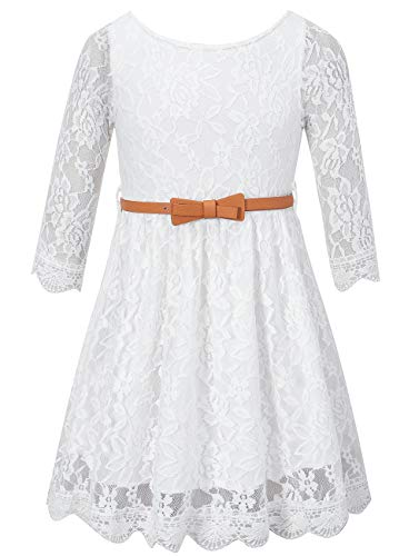 Girls Lace Dress with Belt, Flower Girl 3/4 Sleeves Party Wedding Dress Girl Clothes, White, 5T-6T (5-6 Years)=Tag 130