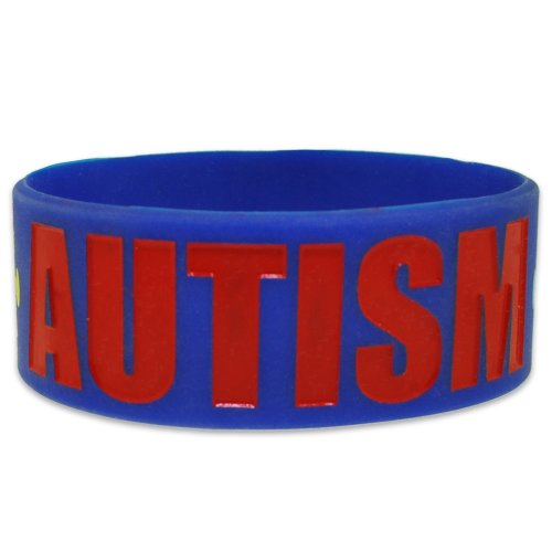 PinMart's Autism Awareness Puzzle Piece Wide Rubber Silicone Bracelet