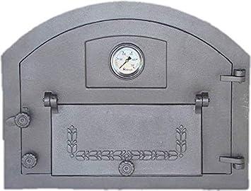 Puerta de horno para pizza o horno de madera con termómetro, tamaño exterior: 610 x 480 mm, dirección de apertura: derecha