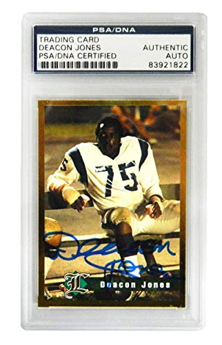 Deacon Jones Signed Los Angeles Rams Legends Sports Memorabilia Trading Card - (PSA Encapsulated) - NFL Autographed Football Cards ()