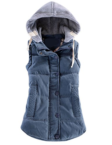 Yeokou Women's Slim Sleeveless Quilted Removable Hooded Winter Puffer Vest Coat Blue (Puffy Vest)