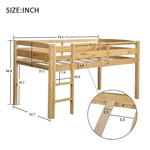 Bedroom Merax Wood Twin Loft Bed Low Loft Bed Frame for Kids Junior with Guard Rail and Ladder Easy Assemly, No Box Spring… bunk beds