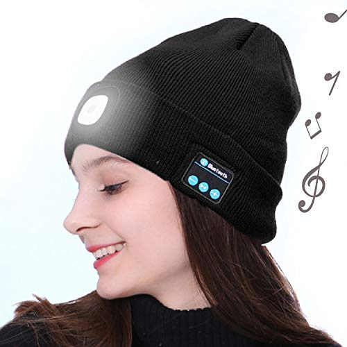 OHYGGE Bluetooth Unisex 4 LED Knitted Flashlight Beanie Hat/Cap,Built-in Stereo Speakers Lighted Knit Cap for Hunting, Camping, Grilling, Auto Repair, Jogging, Walking, Running,Black