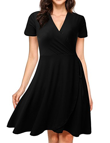 NINEXIS Womens Short Sleeve Surplice Wrap A-Line Dress Black L ()