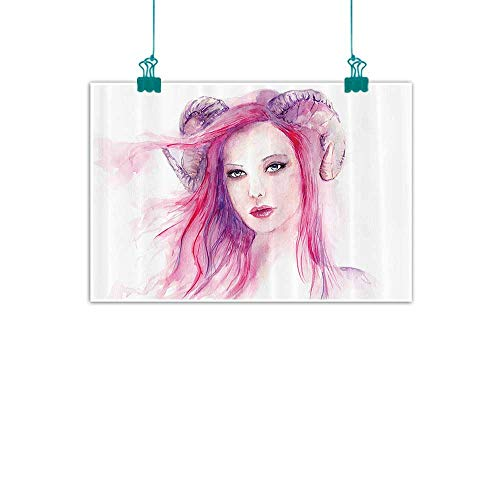 Decor Abstract Painting Sexy Grotesque Girl with Hair and Horns Made Color Effects Devil Paint Print Natural Art 24
