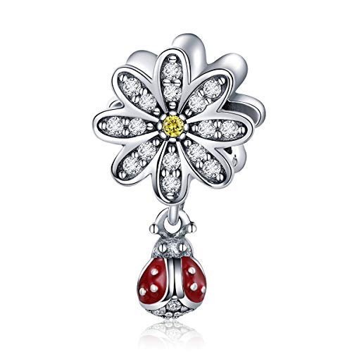 (BAMOER Charm 925 Sterling Silver Dazzling Daisy Ladybug Charm Fit Bracelet with CZ DIY Accessories Jewelry)