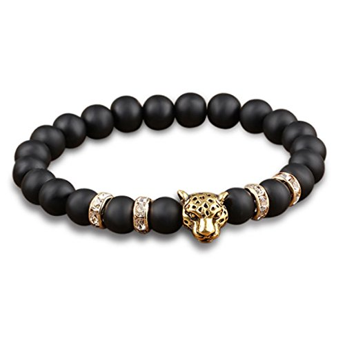 Firewings Gold Plated Leopard Head Crystal Beaded Lava Black Bracelets