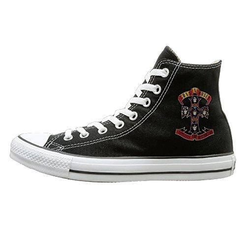 Apopfull Guns N Roses Cross Logo Fashion Casual Canvas High-top Sneakers Unisex 38
