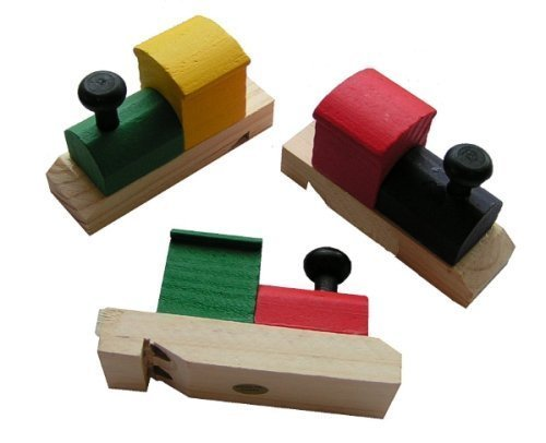 Wooden Painted Train-Shaped Whistles (2-Pack of 12)