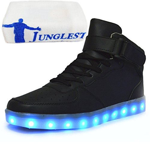 (Present:small towel)JUNGLEST® 7 Colors Led Trainers High Top Light Up Shoes For Unisex Black