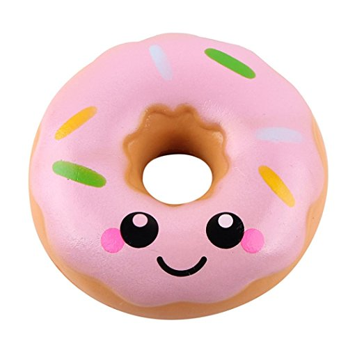 Shybuy Squeezed Doughnut Toy Jumbo Slow Rising Soft Cute Hand Pillow Sweet Chocolate Cream Scented Keychain -