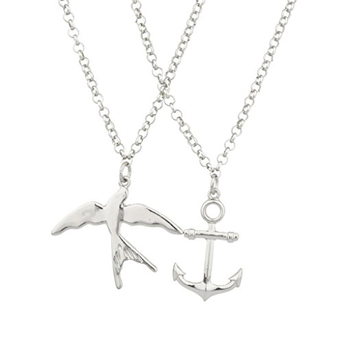 Lux Accessories Dove Anchor Bird Best Friends Forever BFF Necklace Set (2 PC).