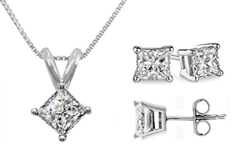 PARIKHS Princess cut Diamond Pendant & Stud Set Popular Quality-White Gold (0.55 ctw, I2 clarity)