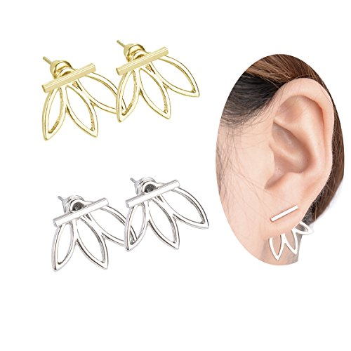Lotus Flowers Jacket Earrings, LIKGUS Bar Ear Studs with Leaf for Women and Girls(2 Pairs)