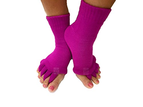 Toe Separator Yoga Gym Sports Massage Socks for Foot Alignment, Great for Sore Feet and Diabetics by TRiiM Fitness with FREE Exercise guide! (Fuchsia) (Pain In Ball Of Foot And Toes Separating)