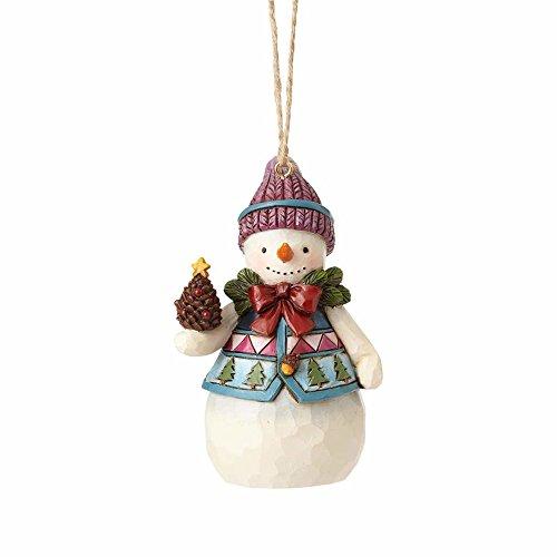 Pinecone Snowman - Enesco 4058831 Mini Snowman with Pinecone Ornament, Multicolor