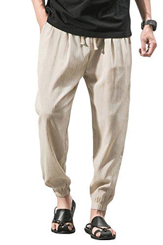 "sandbank Men's Drawstring Beach Pant Summer Cotton Linen Loose Yoga Jogger Pants(Khaki, Waistline:28""-30"" US XS =Asian Tag 2XL)"