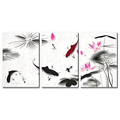 Astonishing Technique, Created By a Professional Artist, 3 Panel Ink Painting Style Fish in The Pond with Lotus Flower x 3 Panels