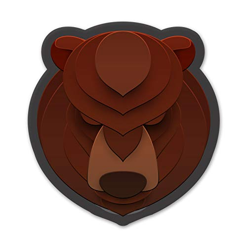 Layered Animal Face Bear - 4 Pack Of 2 Inch Full Color For Hard Hats - ProudlyMade In The USA From Adhesive Vinyl (Hard Hat NOT - Layered Animals