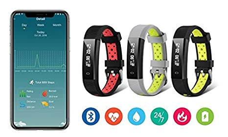 Amazon.com: Jarv Action Wireless Activity Tracker Smartwatch Fitness Tracker Sweatproof Sports Fitness Bluetooth Sleep Band w/Heart Rate Monitor, ...