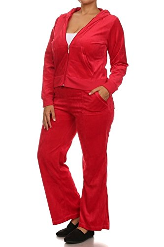 Elegant4U Womens American Plus Solid Red Velour Active Cozy Sweat Tracksuit