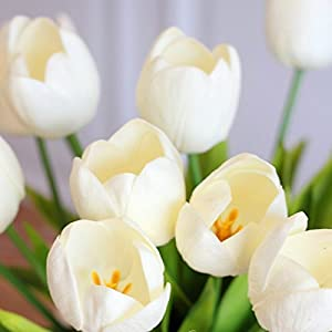 FRP Flowers Real Touch Latex Large 26 inch Tulips for Bouquets, vase Arrangements, Home/Office Decor (Pack of 5) (Milky White) 26